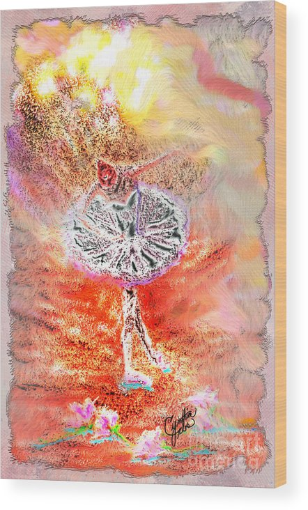 Ballerina Wood Print featuring the digital art Ballerina Bowing With Flowers by Cynthia Sorensen