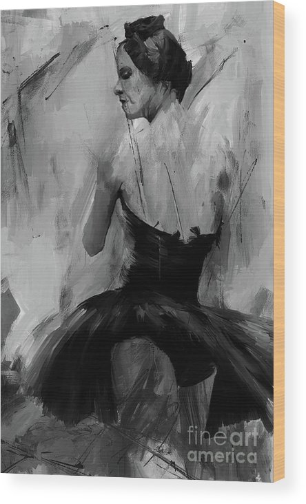 Degas Wood Print featuring the painting Ballet Dance Pose 01 by Gull G