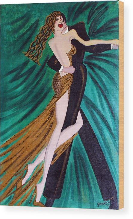 Ballroom Dancers Wood Print featuring the painting Ballroom Dancers Champagne Tango by Helen Gerro