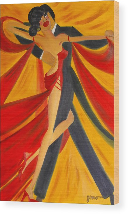 Ballroom Dancing Wood Print featuring the painting Ballroom Dancing Tango by Helen Gerro