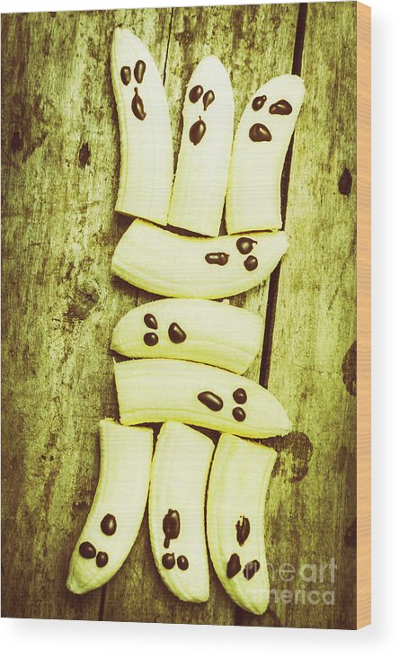 Banana Wood Print featuring the photograph Bananas With Painted Chocolate Faces by Jorgo Photography - Wall Art Gallery
