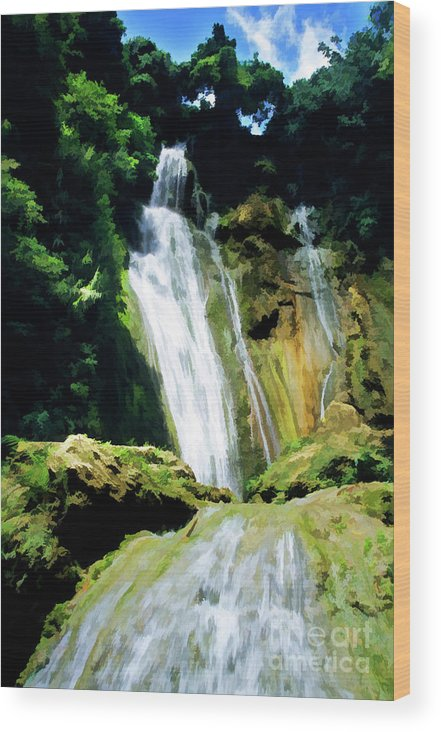 Beautiful Wood Print featuring the photograph Beautiful Cascades Of Mele Falls Surrounded By Lush Foliage by Sami Sarkis