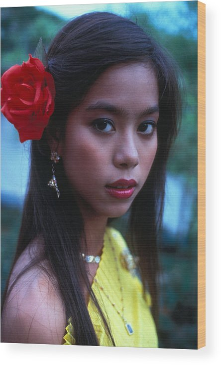 Girl Wood Print featuring the photograph Beautiful Thai Girl by Carl Purcell
