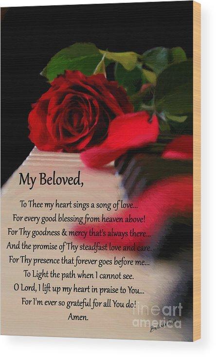 Psalms Wood Print featuring the digital art Beloved by Belinda Rose