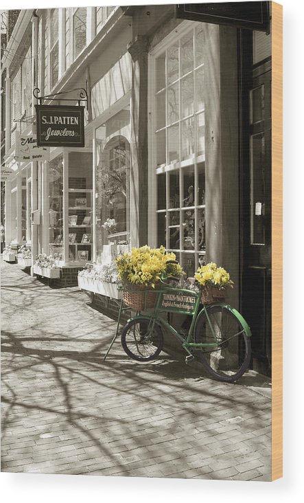 Floral Wood Print featuring the photograph Bicycle With Flowers - Nantucket by Henry Krauzyk