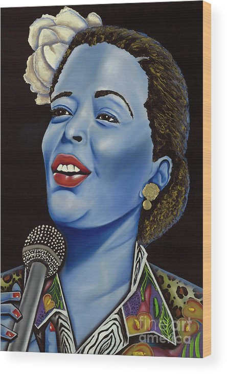 Portrait. Metallic Accessories Wood Print featuring the painting Billie by Nannette Harris