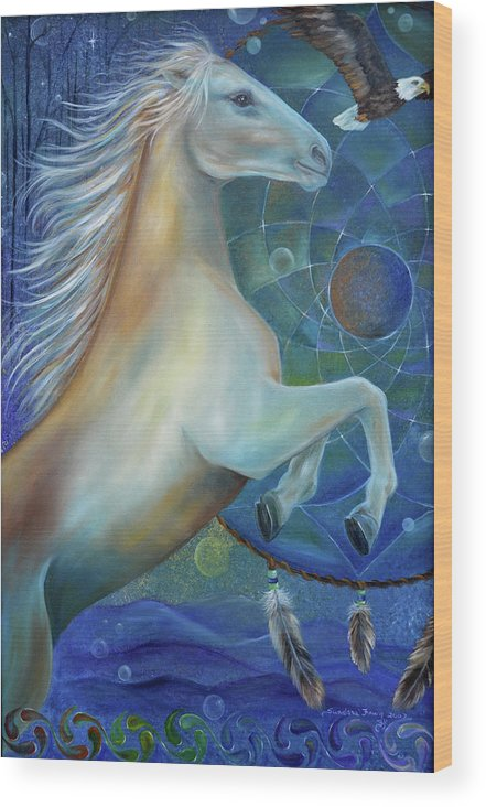 Horse Wood Print featuring the painting Birth Of Freedom by Sundara Fawn