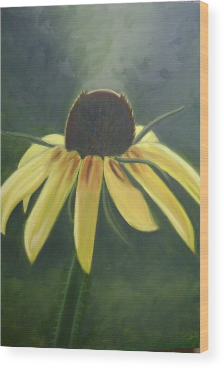 Flower Wood Print featuring the painting Black Eyed Susan by Toni Berry