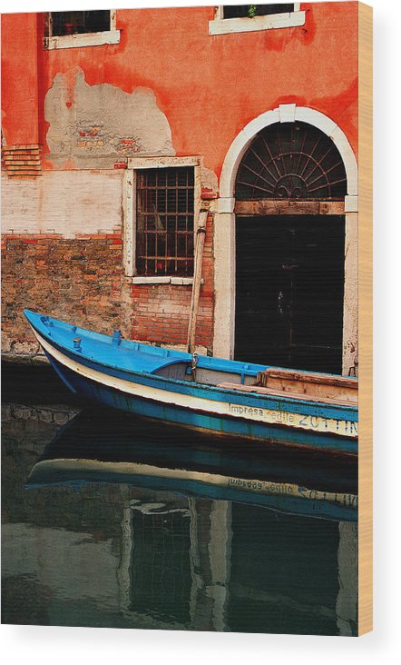 Water Wood Print featuring the photograph Blue Boat Venice Italy by Xavier Cardell