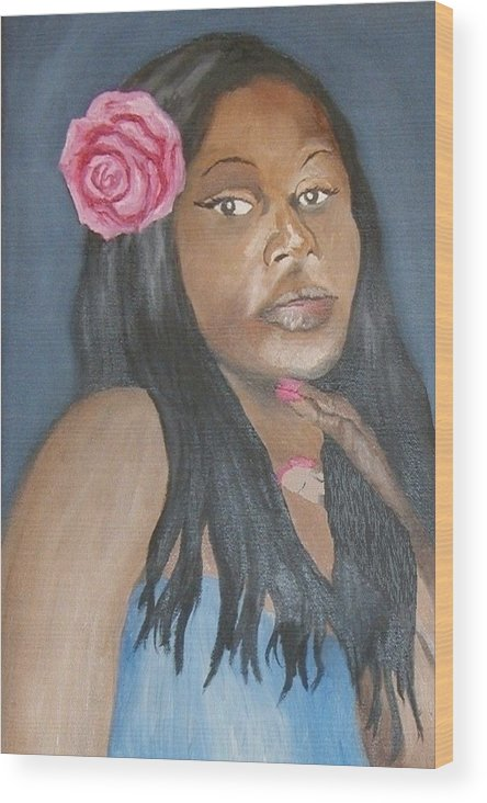 African American Wood Print featuring the painting Blue Diva by Angelo Thomas