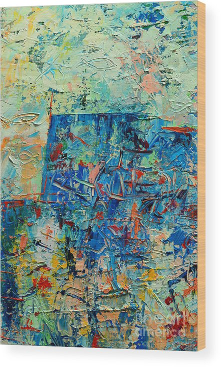 Blue Wood Print featuring the painting Blue Play 2 by Ana Maria Edulescu