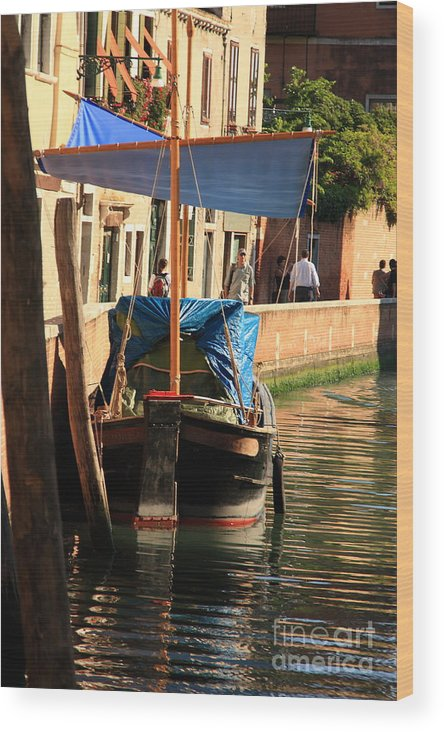 Venice Wood Print featuring the photograph Boat On Canal In Venice by Michael Henderson