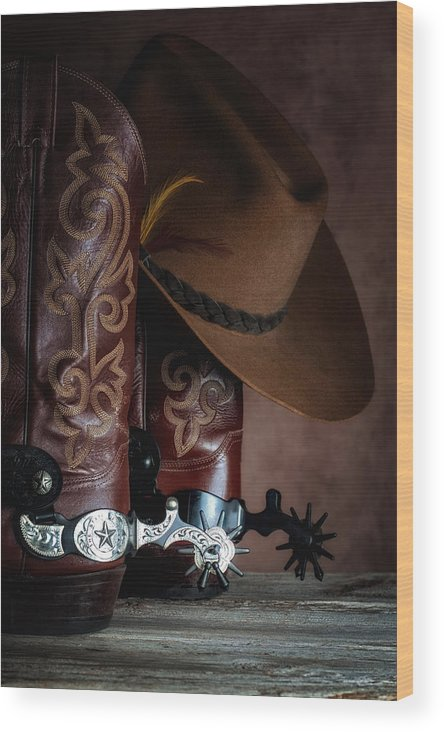 Boot Wood Print featuring the photograph Boots And Spurs by Tom Mc Nemar