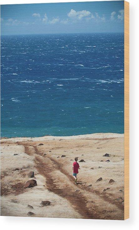 Beach Wood Print featuring the photograph Boy Runs Toward Ocean by Stephen Simpson