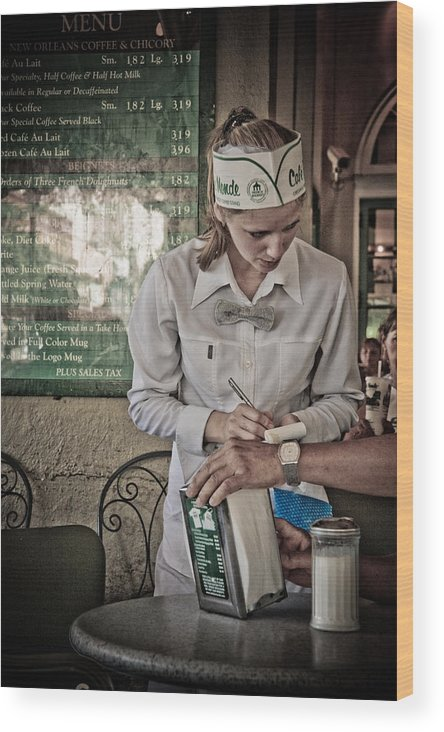 Cafe Wood Print featuring the photograph Breakfast At Cafe Du Monde by Daniel Ray