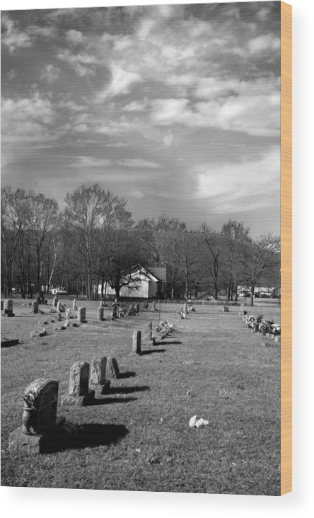 Ansel Adams Wood Print featuring the photograph Brentway-cemetery by Curtis J Neeley Jr