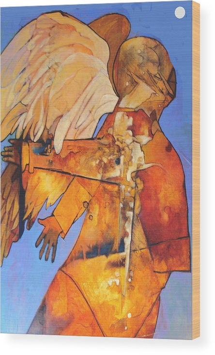 Figure Wood Print featuring the painting Broken Wings by Dale Witherow
