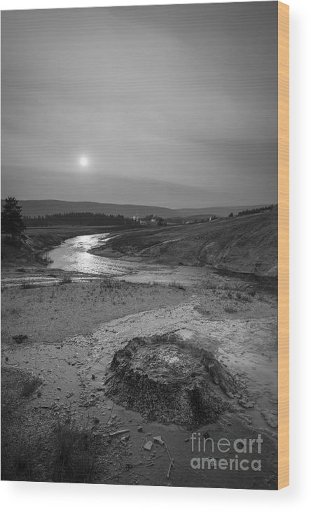 Yellowstone Wood Print featuring the photograph Bubbling Hot Spring In Yellowstone National Park Bw by Michael Ver Sprill