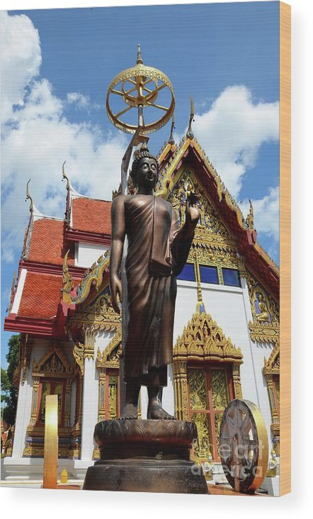Temple Wood Print featuring the photograph Buddha Statue With Sunshade Outside Temple Hat Yai Thailand by Imran Ahmed