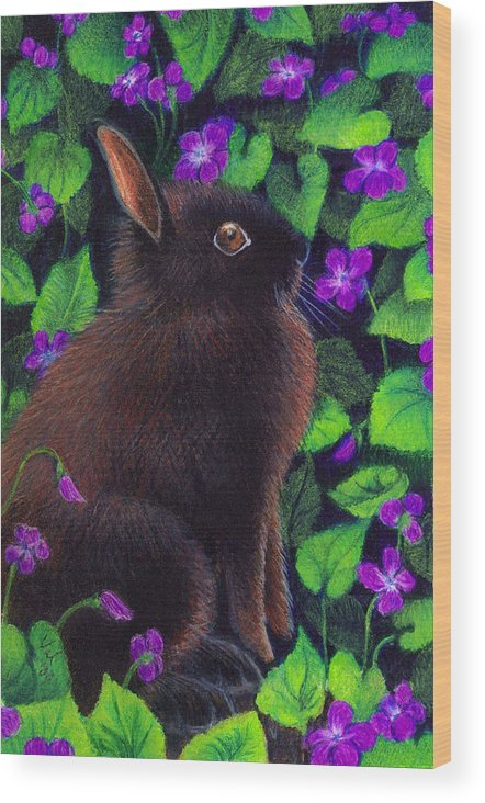 Bunny Wood Print featuring the painting Bunny And Violets by Valerie Evanson
