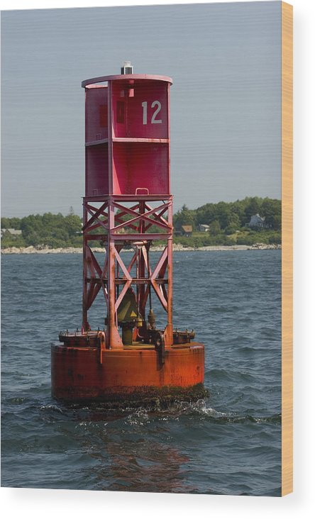 Red Wood Print featuring the photograph Buoy12 by Jack Foley