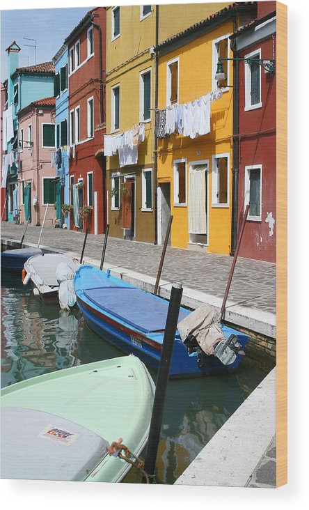 Burano Wood Print featuring the photograph Burano Corner With Laundry by Donna Corless