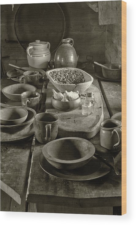 Texas Heritage Wood Print featuring the photograph Cabin Kitchen Table by James Woody