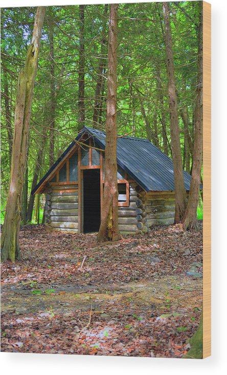 Cabin Wood Print featuring the photograph Cabin by Linda Kerkau