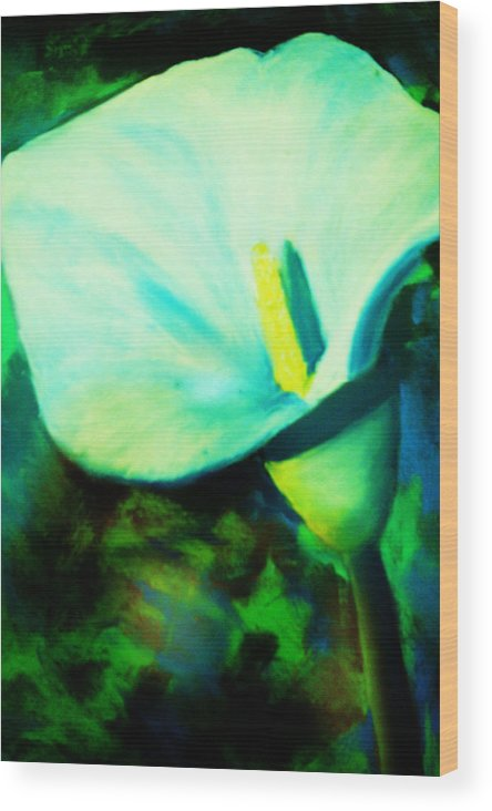 White Calla Lily Wood Print featuring the painting Calla Lily by Melinda Etzold