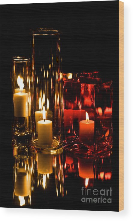 Candles Wood Print featuring the photograph Candle Reflection by Robin Lynne Schwind