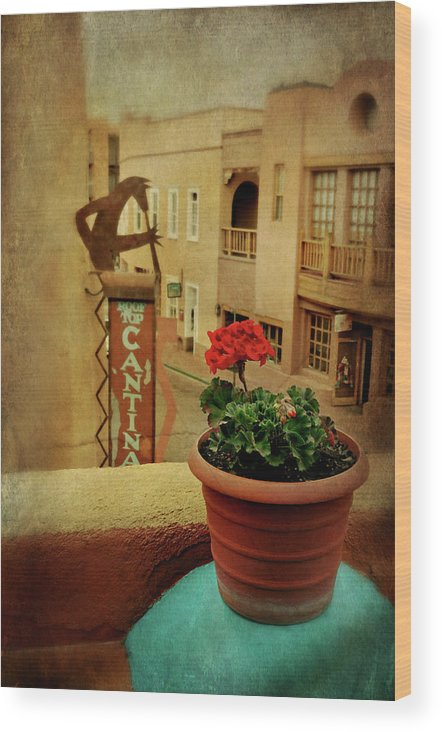 Santa Fe New Mexico Wood Print featuring the photograph Cantina by Diana Angstadt