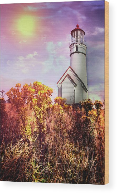 Clouds Wood Print featuring the photograph Cape Blanco Lighthouse In Oregon by Debra and Dave Vanderlaan