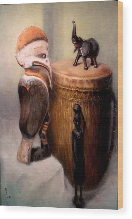 Realism Wood Print featuring the painting Cassowary by Donelli DiMaria