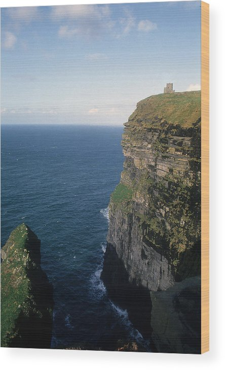Cliffs Wood Print featuring the photograph Castle On The Cliffs Of Moher by Carl Purcell