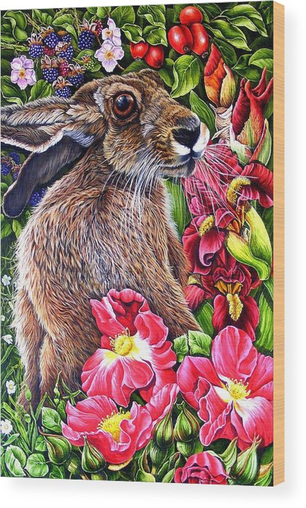 Hare Wood Print featuring the painting Celibration by Donald Dean
