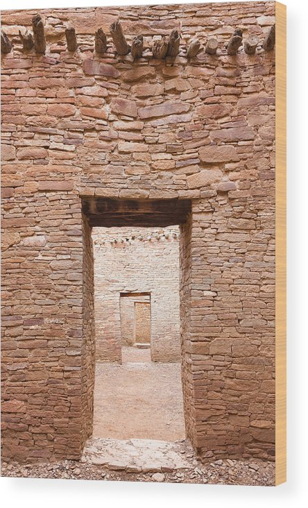 Pueblo Bonito Wood Print featuring the photograph Chaco Canyon Doorways 1 by Carl Amoth