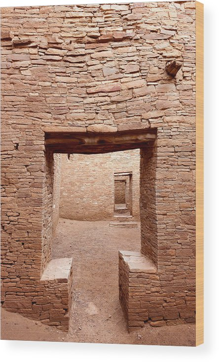 Pueblo Bonito Wood Print featuring the photograph Chaco Canyon Doorways 2 by Carl Amoth