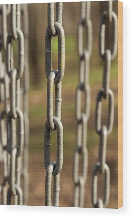 Abstract Wood Print featuring the photograph Chains Abstract 1 by John Brueske