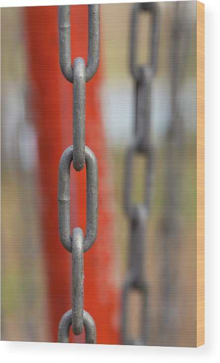 Abstract Wood Print featuring the photograph Chains Abstract 3 by John Brueske