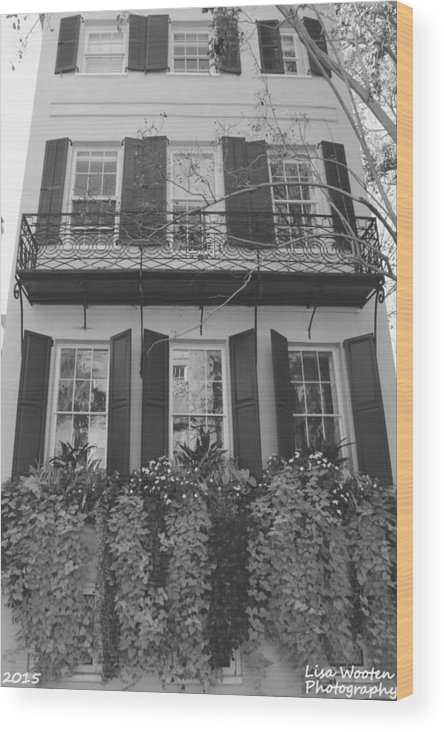 Charleston Style Home Black And White Wood Print featuring the photograph Charleston Style Home Black And White by Lisa Wooten