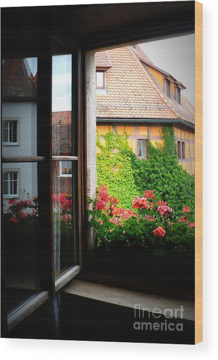 Europe Wood Print featuring the photograph Charming Rothenburg Window by Carol Groenen