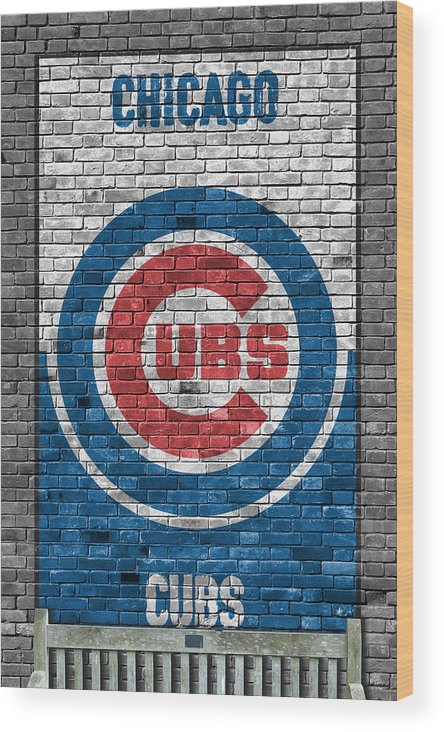 Cubs Wood Print featuring the painting Chicago Cubs Brick Wall by Joe Hamilton