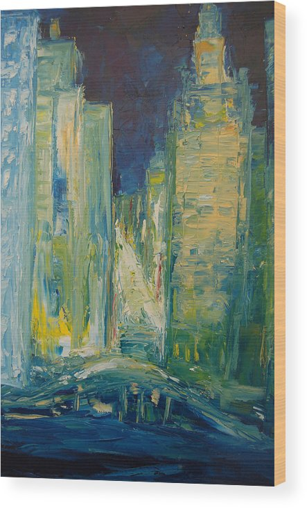 Konkol Wood Print featuring the painting Chicago Lights by Lisa Konkol