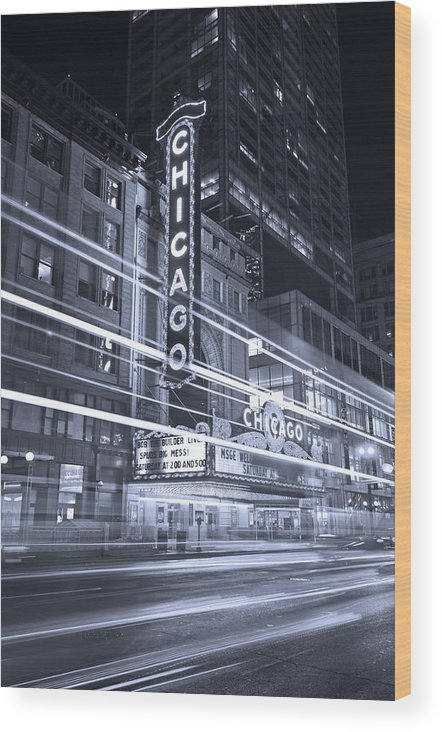 Chicago Wood Print featuring the photograph Chicago Theater Marquee B And W by Steve Gadomski