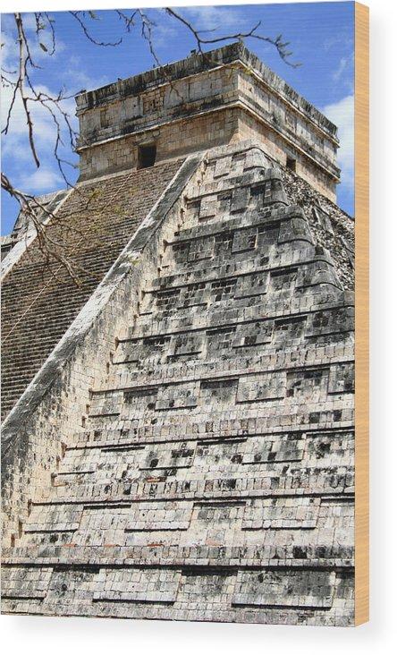 Chichen Itza Wood Print featuring the photograph Chichen Itza Up Close by Chris Brannen