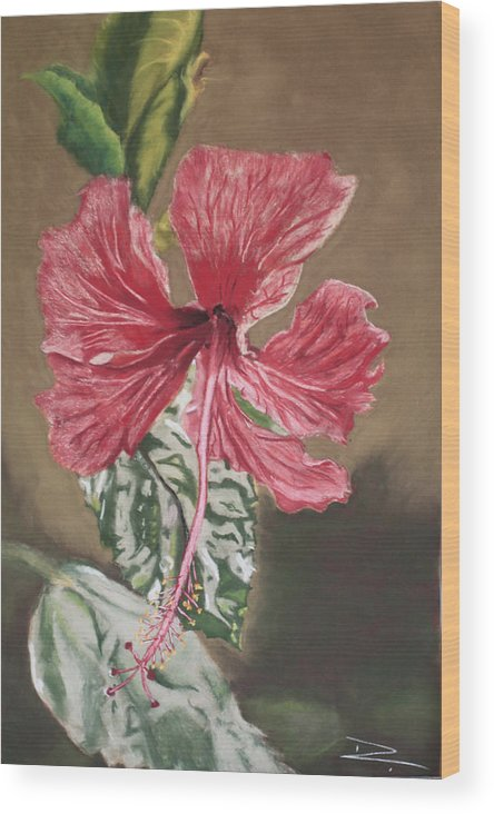 Flower Wood Print featuring the painting China Rose by D Turner