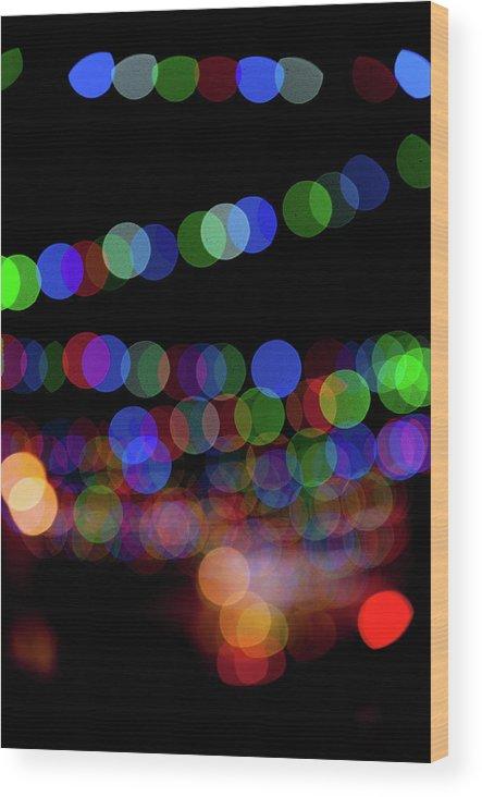 Helen Northcott Wood Print featuring the photograph Christmas Lights Bokeh Blur II by Helen Northcott