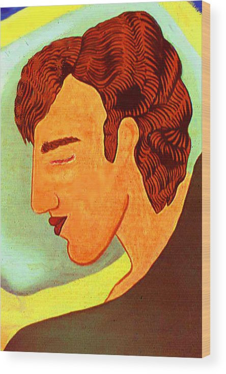 Portrait Pop Wood Print featuring the print Close Up Man Sleepng by Paul Knotter