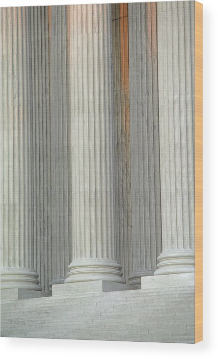 Columns Wood Print featuring the photograph Closeup Of Columns Of Supreme Court by Kenneth Garrett