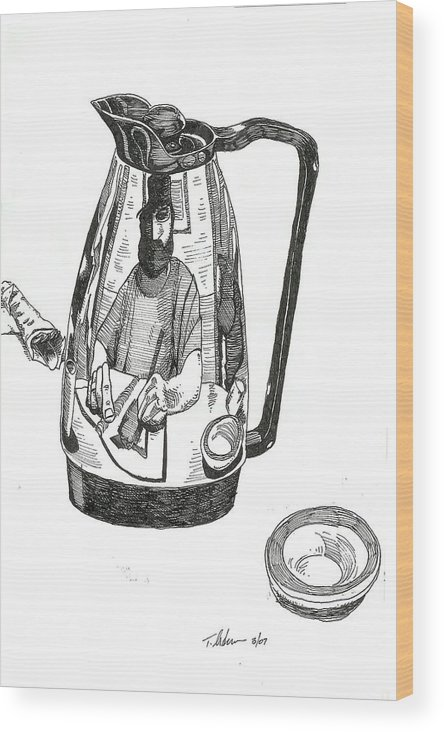 Pen And Ink Wood Print featuring the drawing Coffee Pot by Tobey Anderson